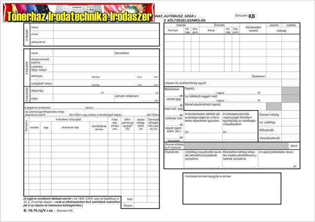 Kiküldetési utasítás és költségelszámolás , 25x2, A4, VITORIA B.18-70