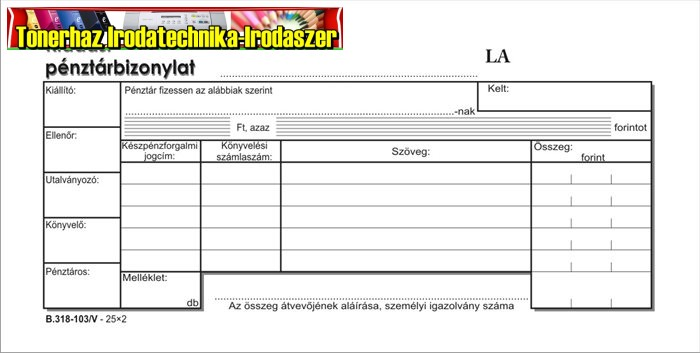 Kiadási pénztárbizonylat 25x2lap -B.318-103/V-