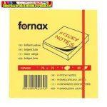 Jegyzettömb FORNAX öntapadós 75x75 mm neon sárga 80 lap/cs