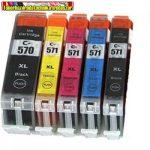 Canon PGI-570xl,CLI-571XL MULTIPACK (BK,PBK,C,M,Y)  UTÁNGYÁRTOTT tintapatronok (CLI571xl,CLI 571,PGI570xl)