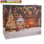 Dísztasak karácsonyi 18 x 23 cm fenyő+lámpás (337997)