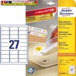 Avery Etikett címke, univerzális visszaszedhető 63,5 x29,6 mm, 27 címke/ív, 25 ív/doboz+5 ív extra ,  fehér
