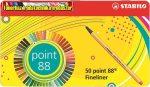 STABILO Point 88 Tűfilc készlet, 0,4 mm, fém doboz,  47+3 különböző szín/cs