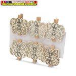 57319F Színezhető fa csipesz filctollal - pillangó - 5 cm