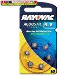 Rayovac 10 1.45V 105mA hallókészülék gombelem 6db/cs