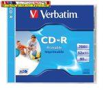 VERBATIM CD-R lemez, nyomtatható, matt, ID, AZO, 700MB, 52x, normál tok,