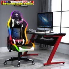 Bemada BMD1112  RGB LED-es gamer szék párnával, karfával - 85 x 57 cm / 54 x 52 cm