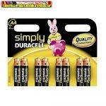 Duracell Simply alkaline ceruza AA elem 1.5V LR06 , db-ár (8db-os kiszerelés)
