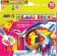 Üvegfóliafesték készlet, AMOS, 10 különböző szín