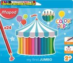 Színes ceruza készlet, háromszögletű, vastag, MAPED Jumbo, 24 különböző szín