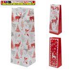 55961A - Karácsonyi italos papírtáska - 10 x 11 x 36 cm (piros-fehér) 3 féle minta (italtasak)