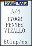Rayfilm fotópapír A/4 170g FÉNYES,VÍZÁLLÓ, 50 lap/cs (R0216 1123B)