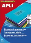 APLI Etikett, 210x297 mm, poliészter, időjárásálló, matt,  áttetsző, 1címke/lap 100lap/címke 100 etikett/csomag LCA11919