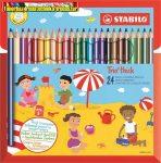 STABILO Trio Színes ceruza készlet, vastag, háromszögletű, hegyezővel,  24 különböző szín