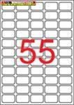 Apli eltávolítható fehér etikettek 36,8x23,8 mm kerekített sarkú A/4-es íven 55címke/lap 100lap/doboz ( LCA03051)