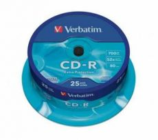 Verbatim CD-R 700 MB, 80min, 52x, hengeren (DataLife) 25 db/henger