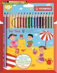 STABILO Trio Színes ceruza készlet, háromszögletű, vastag, 18 különböző szín