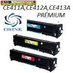 HP CE411A,CE412A,CE413A 305A Színes  LaserJet  ORINK PRÉMIUM UTÁNGYÁRTOTT tonerkazetták LaserJet Pro 300 400 sorozathoz M351 M375 M451 M475 (2600 old.(5%)/szín