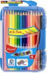 Színes ceruza készlet, háromszögletű, MAPED Color Peps Smart box, 15 darabos