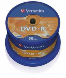 Verbatim DVD-R 4,7 GB, 16x, hengeren (AZO) 50db/henger