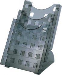 Helit prospektustató asztali kivitel 3 db A/4 es álló formátumu rekesszel. áttetsző szürke