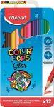 MAPED Color Peps,Színes ceruza készlet, háromszögletű, 12 különböző szín FÉM DOBOZBAN