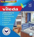 VILEDA Universal törlőkendő, 34x36 cm, 3 db, fehér-piros