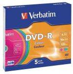 Verbatim DVD-R 4,7 GB, 16x, színes felületű vékony tokban, (AZO) 5db/com