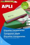 Apli 2 pályás átlátszó etikett, 99,1 x 38,1 mm, kerekített sarkú, tintasugaras nyomtatóhoz, 14címke/lap  10lap/cs  (140 etikett/csomag) LCA10052
