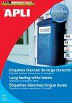 Apli Etikett, 210x297 mm, poliészter, időjárásálló, 1címke/lap 20lap/dob 20 etikett/dob LCA1228