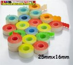 Árazószalag 25x16mm színes