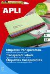 Apli Etikett, 70x37 mm, poliészter, átlátszó, 24címke/lap 10lap/cs 240 etikett/csomag LCA10051