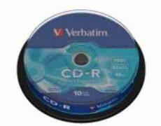 Verbatim CD-R 700 MB, 80min, 52x, hengeren (DataLife) 10 db/henger
