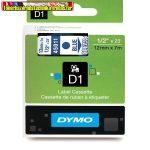 DYMO D1 (S0720510)45011- 12mmx7m KÉK betű/VÍZTISZTA háttér
