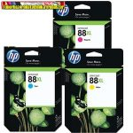 Hp C9391A, 9392A, 9393A No 88XL nagykapacitású  tintapatronok  ( Officejet K550 / K5400 / L7480 / L7580 / L7590 / L7680 / L7780 / K8600   (17ml/1700 old./szín)