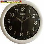 SECCO Sweep Second,Falióra, 28cm, ezüst/fekete