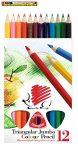 ICO süni színes ceruza 12-es háromszögletű  vastag