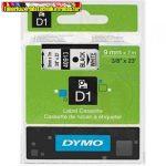 Dymo D1 kazetta 9mmx7m  fehér alapon fekete 40913 (S0720680)