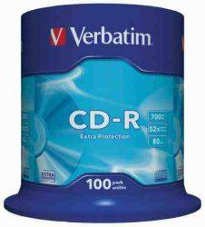 Verbatim CD-R 700 MB, 80min, 52x, hengeren (DataLife) 100db/henger