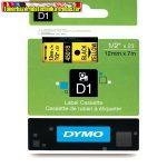 DYMO D1 (S0720580) 45018- 12mmx7m FEKETE betű/SÁRGA háttér