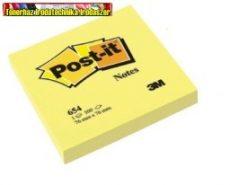 3M POST-IT 654 Öntapadó jegyzettömb, 76x76 mm, 100 lap,  sárga